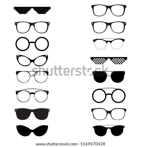 Set Sunglasses vector design template. A set of sunglasses. Idea for designers. Vector graphics