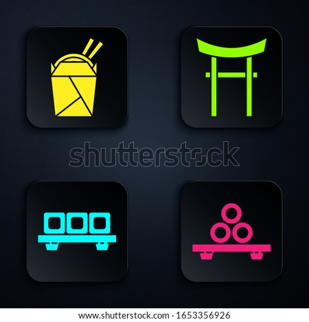 Set Sushi on cutting board, Asian noodles in paper box and chopsticks, Sushi on cutting board and Japan Gate. Black square button. Vector