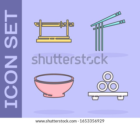 Set Sushi on cutting board, Traditional Japanese katana, Bowl of hot soup and Asian noodles and chopsticks icon. Vector