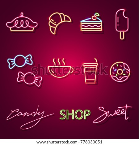 Set sweet-stuff neon sign. Neon sign, bright signboard, light banner. Vector icons
