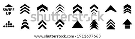 Set swipe up arrows icon. Group arrows directed upwards. Different black arrows sign. Scroll or swipe up. Elements for business infographic, social media – vector Stockfoto ©