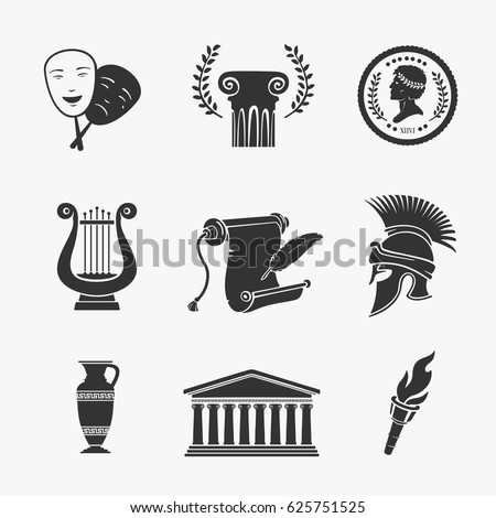Set Symbol Greece Vector Illustration