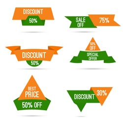 Set tags with ribbons and labels. Discounts for Independence Day and Republic Day of India