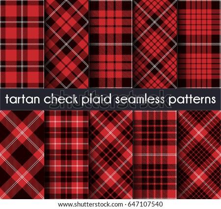 set tartan check plaid seamless pattern background red black and white plaid tartan
