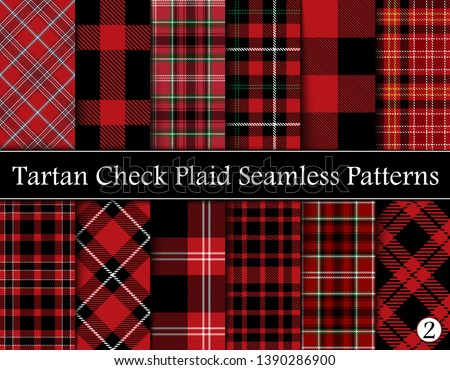Set  Tartan Plaid Scottish Seamless Pattern. Texture from tartan, plaid, tablecloths, shirts, clothes, dresses, bedding, blankets and other textile. Vol 02