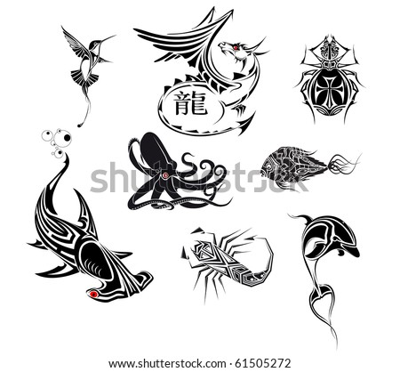 stock vector : set tattoo