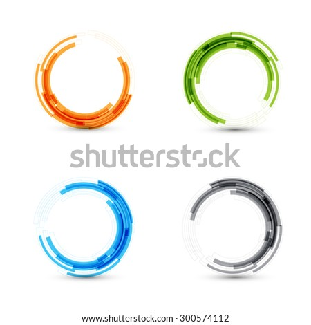 set tech circle modern button and technology background design vector. Circle lines.