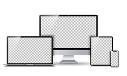 Set technology devices with empty display - vector
