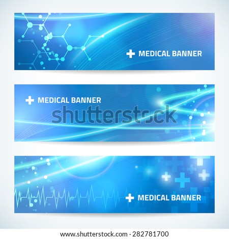 set technology medical banner vector background for web or print. layered. editable.