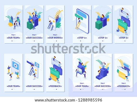 Set Template app, smartphone apps. Isometric concept success in business, feedback, teamwork, project, social network, community