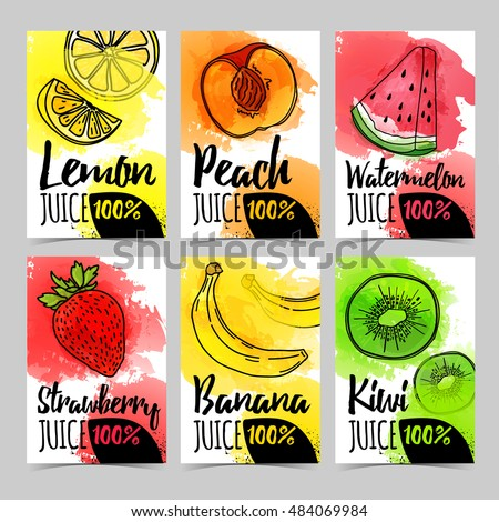 Set template design card, brochure with decoration fruit and berry. Postcard, banner, invitations, flyers for organic, natural juice with watercolor texture. Vector