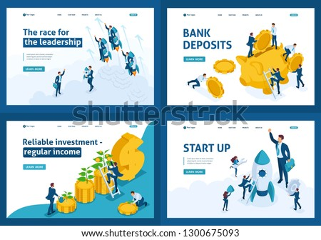 Set Template design, Isometric concept Bank deposits, startup, leadership, investment.