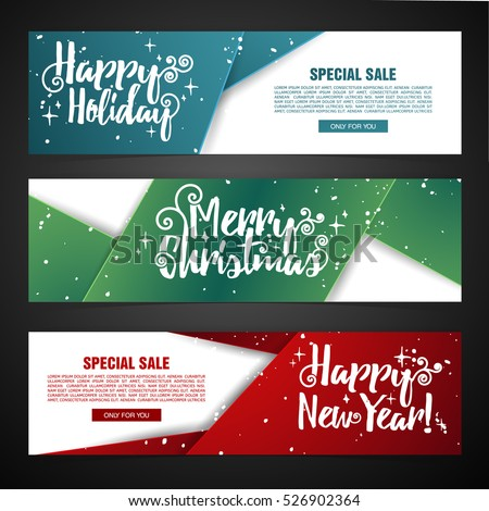 Set template design Merry Christmas horizontal banner. Flyer with different color tape  and Happy holiday text. Horizontal banner for new year sale with snow decoration. Christmas offer. Vector.