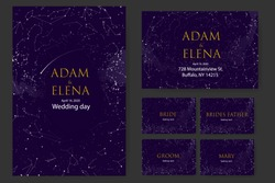 set templates. Poster, invitations, Seating cards. Wedding, decor elements for celebration. Romantic theme of starry sky and universe, inscriptions on background of stars constellations and clouds