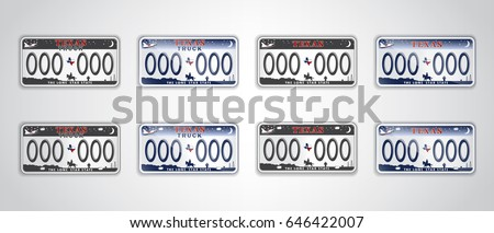 Set Texas auto license plate. Detailed object. Flat vector illustration.