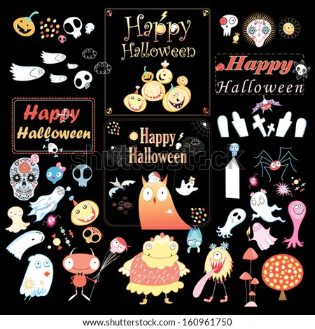 Set the holiday Halloween. Vector illustration.