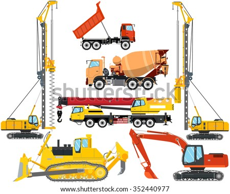 Set the isolation of heavy equipment for construction and repair on a white background. Construction and road works. Vector illustration Stockfoto ©