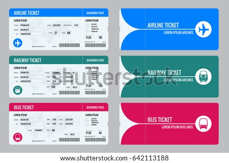 Set tickets for plane, bus and train. Travel around the world and countries. Recreation and entertainment. Business trip. Vector illustration. Isolated on white background.