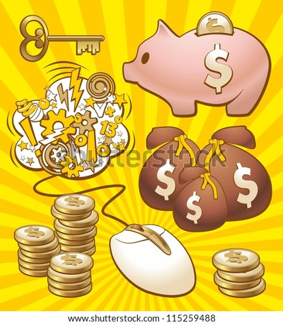 Set to make money. Illustration of monetary enrichment by earning in internet.