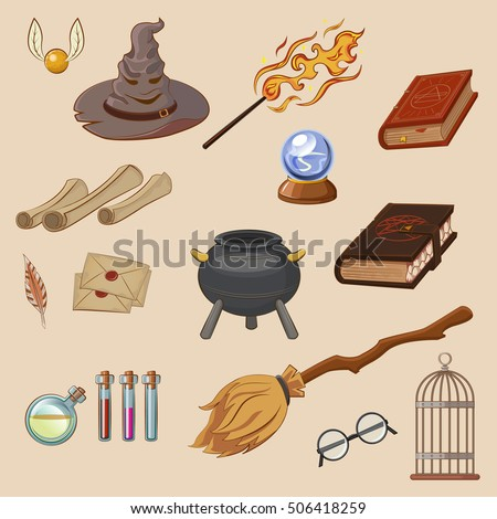 Set to play a wizard. Things magician: wizard, hat, magic book, roll, potion, broom, crystal ball, Golden Snitch. Different witch equipment in cartoon style. Vector illustration.