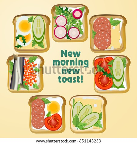 Set toast. Fried slices of bread with a variety of snacks: vegetables, fish, sausage, egg and cheese. Vector illustration