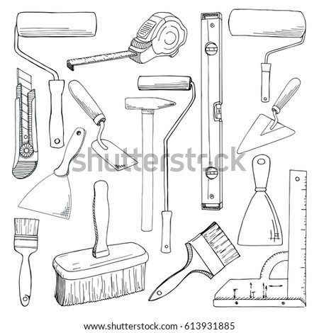 Set tools painting  building.  Different tools isolated on white background. Hand drawn vector illustration of a sketch style.