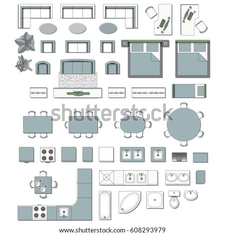 Set top view for interior icon design. Elements for living room,  bedroom, kitchen, bathroom. Floor plan. Furniture store. Vector Illustration.
