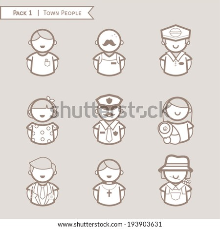 Set town people icon, character people, Occupations. Professions, brown