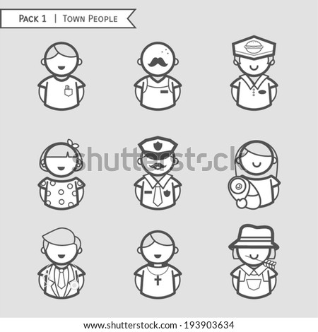 Set town people icon, character people, Occupations. Professions, gray