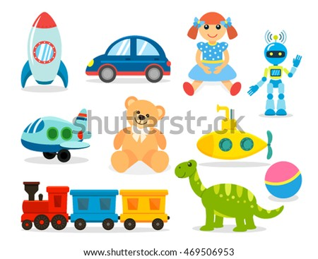 Set toys for boys and girls. Icons for the web in a flat style is insulated on white background. vector illustration