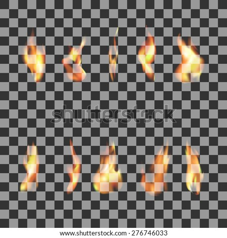 set 10  transparent fire flames