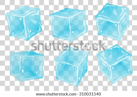 Set transparent ice cubes in blue colors