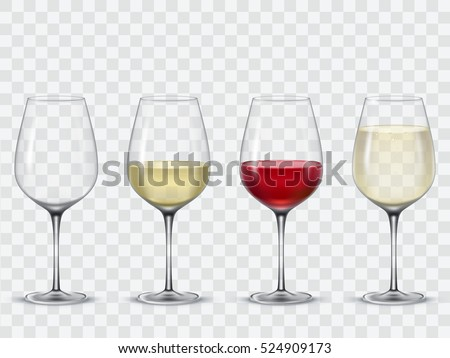 Set transparent vector wine glasses empty, with white and red wine