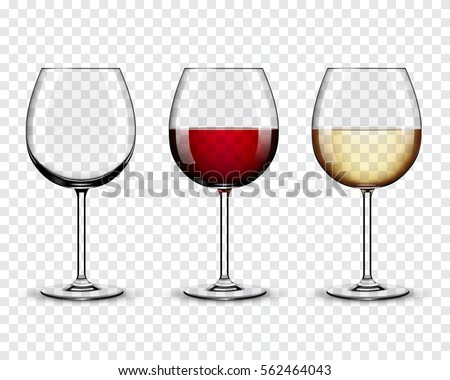set transparent vector wine...