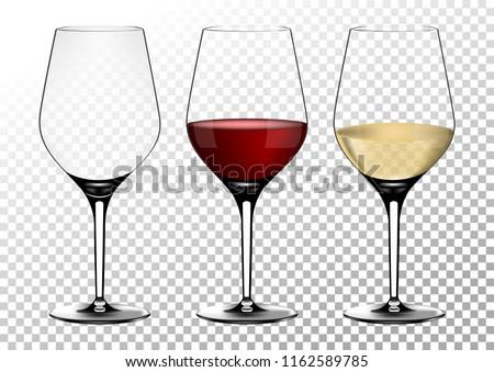 set transparent vector wine