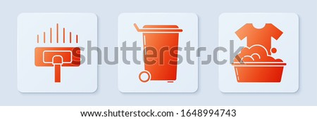 Set Trash can , Vacuum cleaner and Plastic basin with soap suds . White square button. Vector
