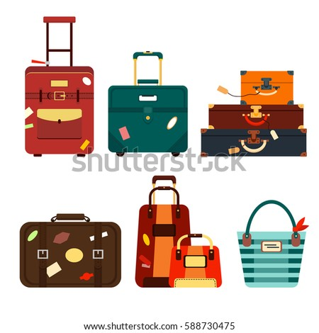 Set travel bags isolated on white background vector illustration. Collection business voyage packing, handle trip baggage. Summer time. Handbag and luggage for adventure