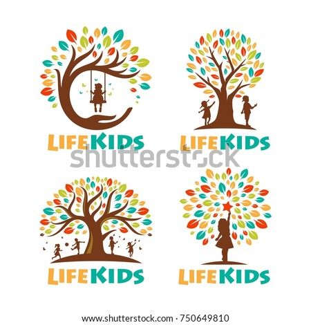 Set Tree Kids Logo playful template