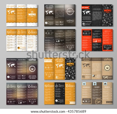 Set triple folding menu for the cafe, restaurants, bars or coffee shops; with drawings by hand, blurred background, old cardboard texture. Vector illustration