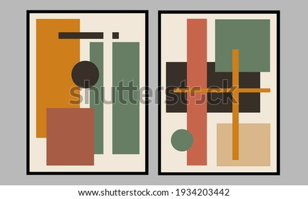 Set two of abstract Geometric mid century modern wall art. Geometry wall decor with Minimalist design concept. Brown color of wall Decorations for Scandinavian home. Vector Ilustration.