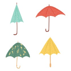 Set umbrellas different forms on white background. Abstract umbrellas red, blue, yellow and green color with flowers and polka dot in style doodle vector illustration.
