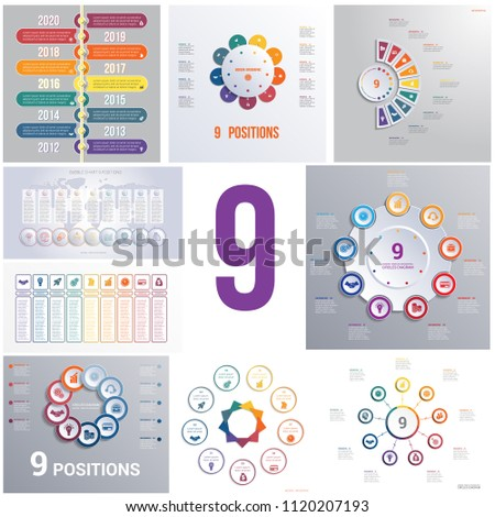 Set 9 universal templates elements Infographics conceptual cyclic processes for 9 positions possible to use for workflow, banner, diagram, web design, timeline, area chart,number options