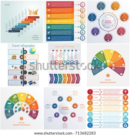 Set 10 universal templates elements Infographics conceptual cyclic processes for 7 positions possible to use for workflow, banner, diagram, web design, timeline, area chart,number options