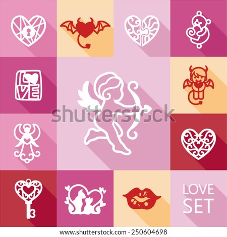 set valentine's day objects