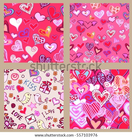 set valentine seamless pattern