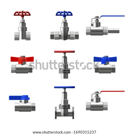 Set valves ball, fittings, pipes of metal piping system. Different types valves water, oil, gas pipeline, pipes sewage. Construction and industrial pressure technology plumbing. Vector illustration