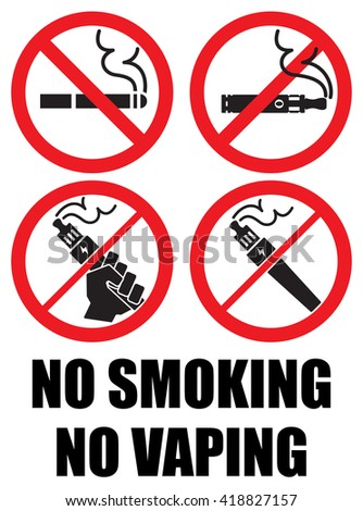 set vaping icons no smoking sign