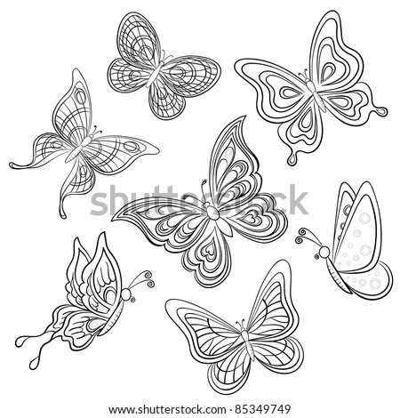 Set various butterflies, monochrome contours on a white background, vector