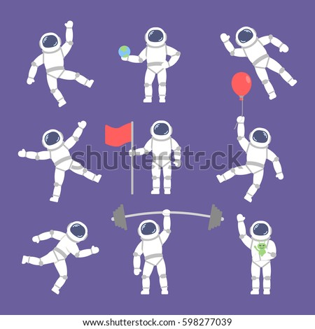 set vector astronauts in different poses. Flat icon astronauts
