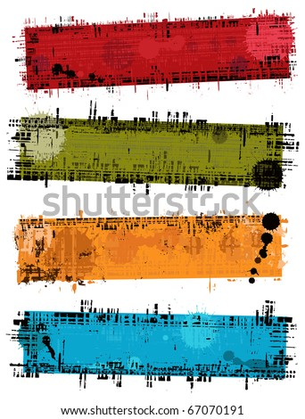 Set - vector banners with grunge texture